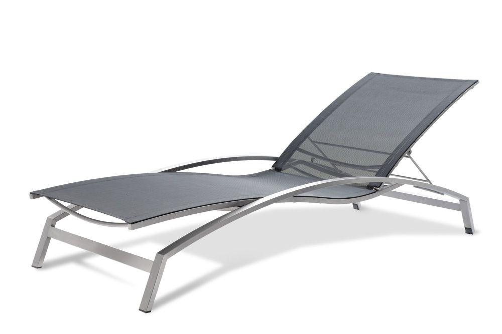 Liegestuhlstuhl Textilene 1x1 schwarz mit Armlehnen