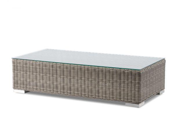 REVIERA CUBE Gartentischgestell für Glas H 32 Geflecht 5mm white cora Grösse: 124x62 eckig